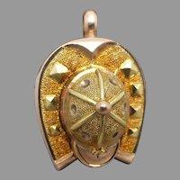Antique Victorian 9K Gold Jockey Cap Horseshoe 'Good Luck' Charm Pendant