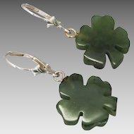Vintage Sterling Silver Four Leaf Clover Nephrite Earrings