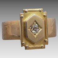 Victorian 18k Gold Old-cut Diamond Plaque Conversion Ring
