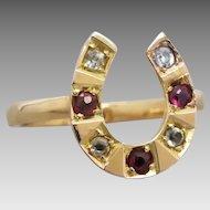 Victorian 18K & 15K Gold Gemstone Horseshoe Conversion Ring