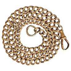"""Antique Victorian Gold Cased 15"""" Long Curb Watch Chain Necklace"""
