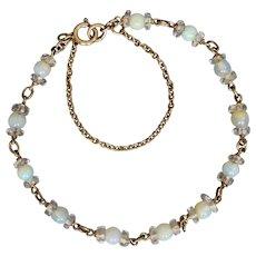 Vintage 9k Gold Opal Beads & Faceted Quartz Bracelet
