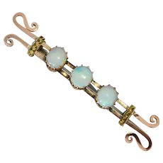 Antique Victorian 9k Gold Three Solid Opal Fancy Bar brooch by Willis & Co