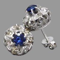 Antique Edwardian c1910's Sapphire & Old-Cut Diamond Cluster Stud Earrings