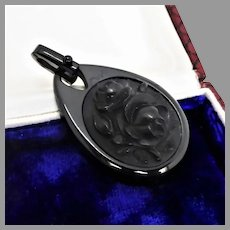 Antique Victorian Whitby Jet Carved Rose Pendant