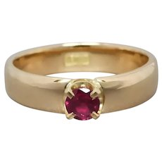 Upcycled 18k Gold Natural Ruby Solitaire Ring