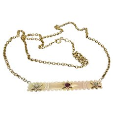 Upcycled 9K Gold Garnet Doublet & Seed Pearl Star Embellished Necklace