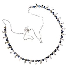 Vintage Art Deco Blue & White Paste Necklace in Sterling Silver