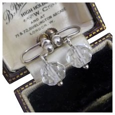 Vintage c1930 Art Deco Sterling Silver Rock Crystal Screw-back Earrings