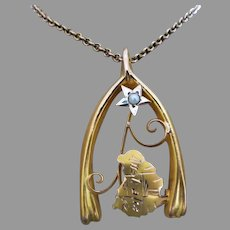 Antique C1901 Post Federation Upcycled 9k Gold Map of Australia in Wishbone Pendant, Pearl Accent
