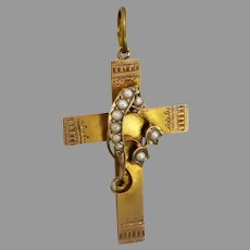 Antique c1918 'Lily of the Valley' Seed Pearl Cross Pendant in 9ct Gold
