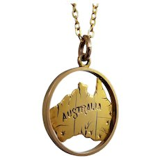 Antique c 1901 Post Federation 'Map of Australia' Pendant Charm in 9ct Gold