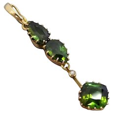 Edwardian Upcycled 15k Gold Green Tourmaline & Seed Pearl Pendant