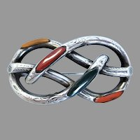 Antique Victorian Sterling Silver Scottish Agate Lovers Knot Brooch