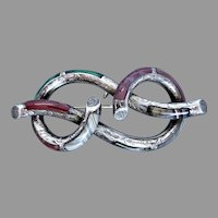Victorian Large Sterling Silver Scottish Lovers Knot Pebble Brooch