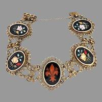 Victorian Filigree Silver Gilt Pietra Dura Mosaic Bracelet