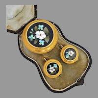 Victorian 20k Gold Pietra Dura Cased Earrings & Brooch/Pendant Set