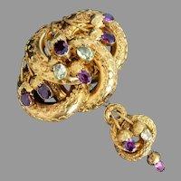 Victorian 18k Gold Lovers Knot Purple Garnet & Chyrsoberyl Brooch