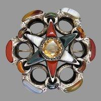 Antique Victorian Sterling Silver Scottish Pebble Star Brooch