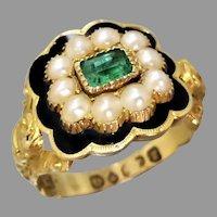 Georgian 18k Gold Emerald, Pearl & Black Enamel Memorial Ring