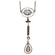 Antique Edwardian c1910 Elegant Aquamarine & Seed Pearl Lavaliere Necklace