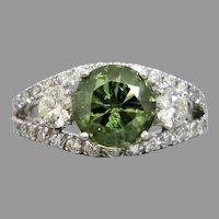 Estate 18K White Gold 2.74ct  Demantoid Garnet & Diamond Ring