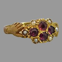 Antique Victorian c1870 Fede Garnet & Seed Pearl Cluster Ring in 15k Gold