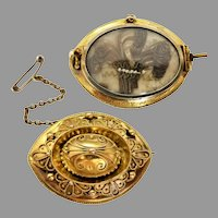 Antique Victorian c1875 Etruscan-Revival Mourning Brooch in 14k Gold