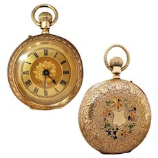 Antique Edwardian 18k Gold Ornate Ladies Pocket Watch, Working