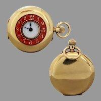 Antique Edwardian 18k Gold Red Enamel Demi-Hunter Pocket Watch