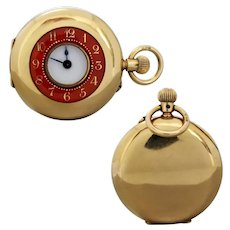 Antique Edwardian 18k Gold Red Enamel Demi-Hunter Pocket Watch