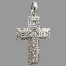 Estate 18k White Gold 1.50tcw Diamond Cross Pendant