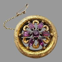 Early Victorian c1860 Purple Garnet Engraved Circle Brooch, 9k Gold
