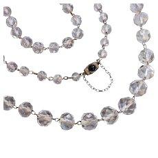 "Antique Art Deco c1920 Rock Crystal Flapper Necklace, Long 37"" inch"