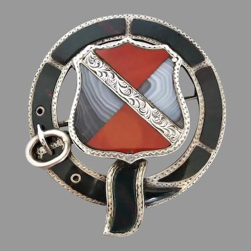 Antique Victorian Sterling Silver Scottish Shield and Garter Pebble Brooch