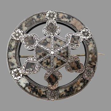 Victorian Scottish Sterling Silver Aberdeen Granite Brooch, Signed Wheatley Carlisle