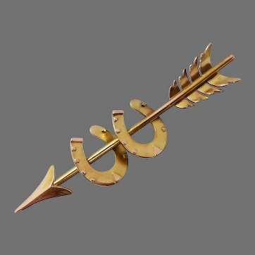Antique Victorian 15K Gold Double Horseshoe Arrow Brooch