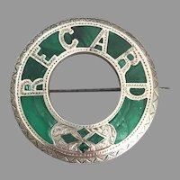 Antique Victorian Scottish Sterling Silver Malachite Regard Brooch