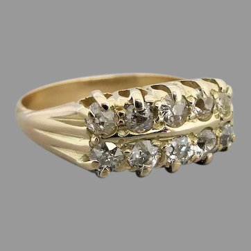 Antique Victorian 14k Gold Two Row Old Cut Diamond Ring