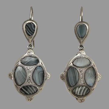 Antique Victorian Sterling Silver Scottish Montrose Agate Earrings