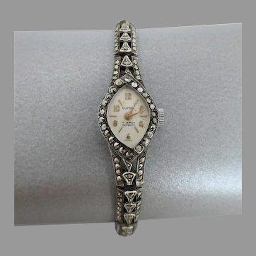 Vintage c1960 Sterling Silver 'Dupont' Marcasite Manual-wind Ladies Watch