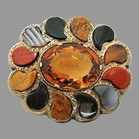 Antique Scottish 9k Gold Cairngorm Citrine & Agate Pebble Brooch