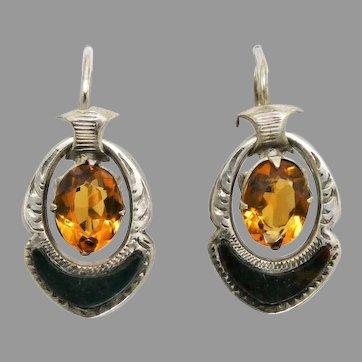 Antique Victorian Scottish 'Cairngorm' Paste & Bloodstone Thistle Earrings