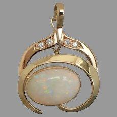 Vintage 9k Yellow & Rose Gold Solid 7.50-carat Opal, Diamond & CZ Enhancer