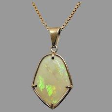 "Vintage 9k Yellow Gold Solid Australian Opal Pendant 17"" Necklace"