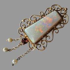 Vintage c1960 Retro Filigree Solid Opal, Garnet and Pearl Enhancer Pendant