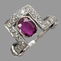Vintage Mid Century 14k White Gold Ruby & Diamond Asymmetric Ring