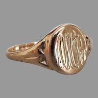 Antique Edwardian 9k Rose Gold Monogrammed Signet Ring