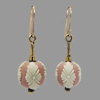 Vintage 1960's Wedgwood Pink Jasperware Ball Dangle Earrings