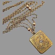"Antique 15K Gold Engraved Diamond-set Rectangle Locket Necklace, 23"""